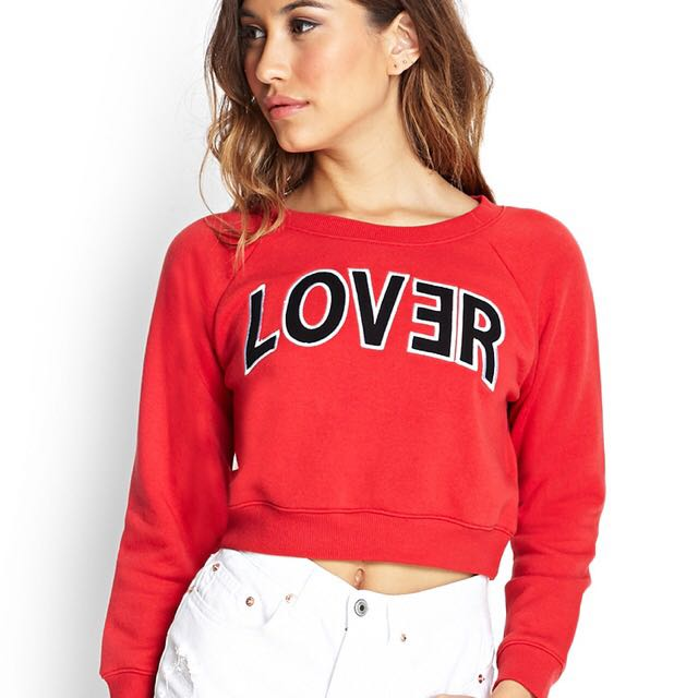 Forever 21 LOVER Crop Sweater (Red)