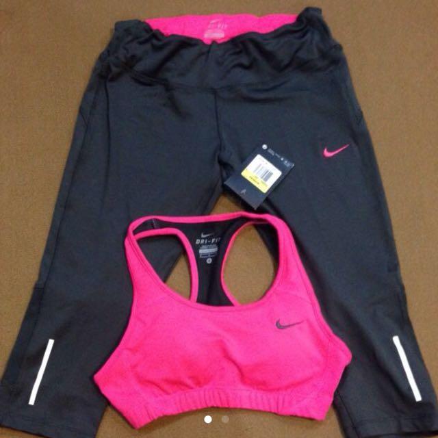 Nike 運動健身 鐵灰色配桃紅 七分束褲