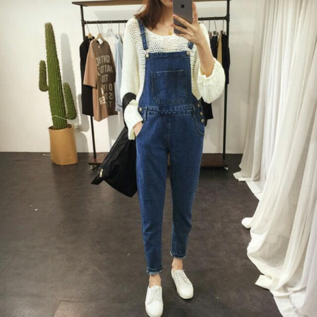 Overall Jumpsuit Jeans Dark Blue