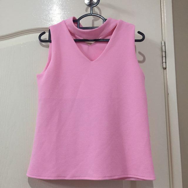 Pink Choker Top