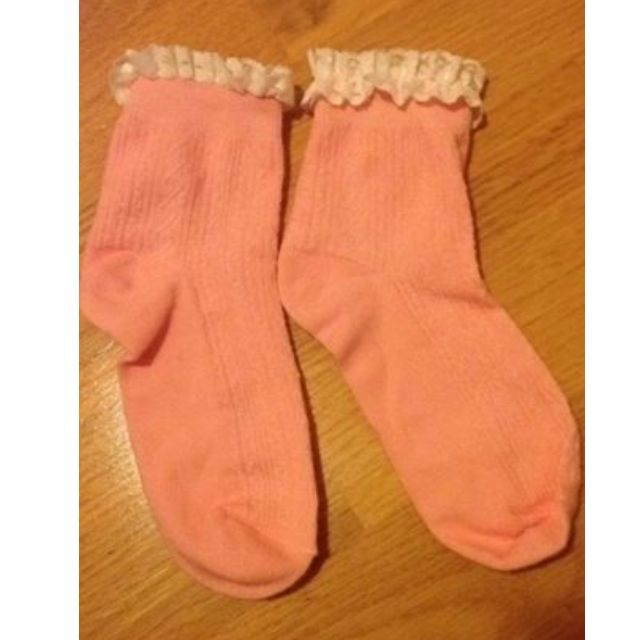 pink socks with lace frill