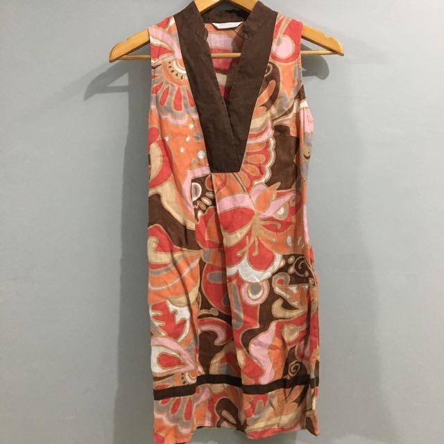 PROMOD Printed Linen Dress