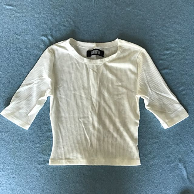 Reformation White Ribbed Cropped Top