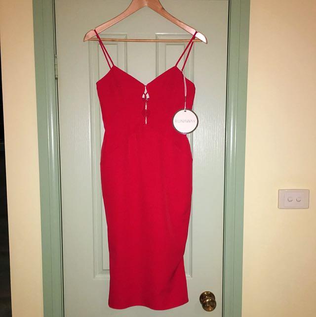 RUNAWAY Zella Midi Dress - Red