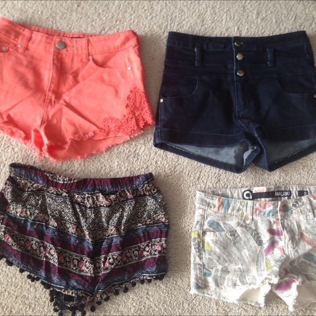 Shorts- 4 Pairs Size 8-10 Range