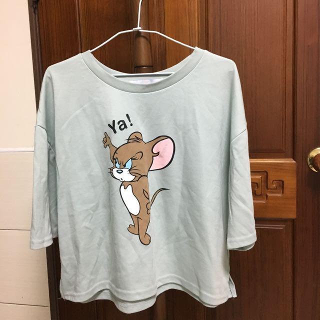 湯姆貓與傑利鼠Tom&Jerry馬卡龍綠運動套裝韓國製 寬版上衣 休閒短褲 運動風