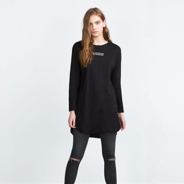 Zara Long Sleeve Longline Tee
