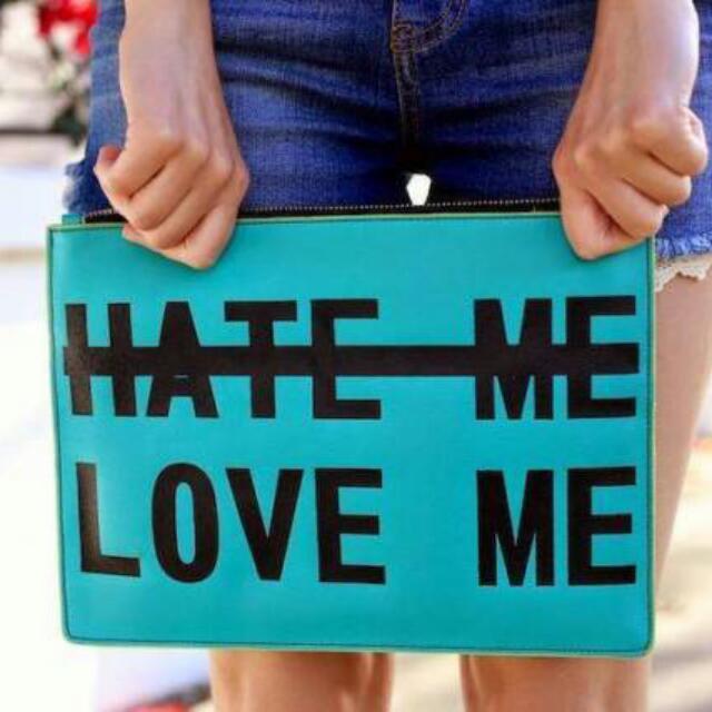 Sale!!! Zara Love Me Hate Me Statement Clutch