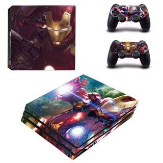 全新 Ironman PS4 Pro Playstation 4保護貼 有趣貼紙 包主機底面+2個手掣)