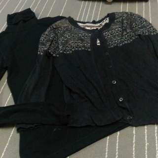 Combo Cardigan & Turtle Neck Tops XS-S Size