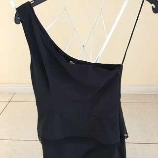 One Shouldered Short Black dress
