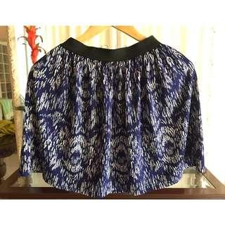 Printed Blue Short Skirt
