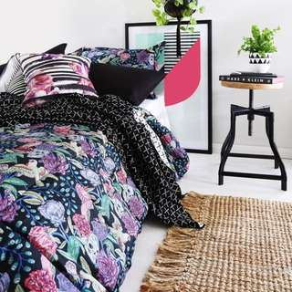 Sanctuary Boutique Skull And Rose Bed Quilt And 2x Pillow Slips