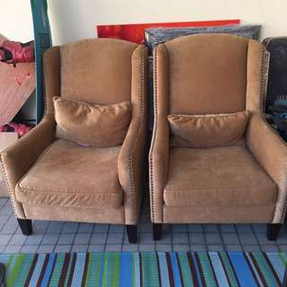 Pair Of Taylor B Gold Studded Arm Chair (Reserved)