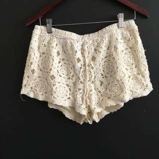 Cream Floral Crotchet Shorts