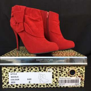Court Couture Nicola Red Ankle Boot Heels 6