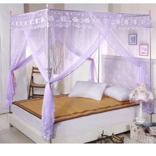 Queen Size Purple 4 Poster Bed Lace Curtain
