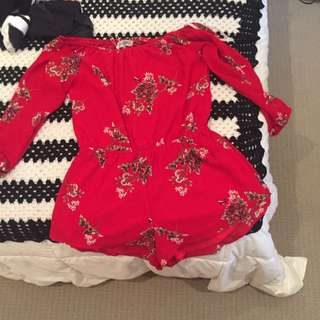 Showpo Red Floral Offshoudler Playsuit