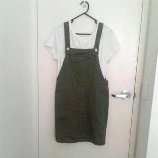 Army Green Overall Dress / Dungaree