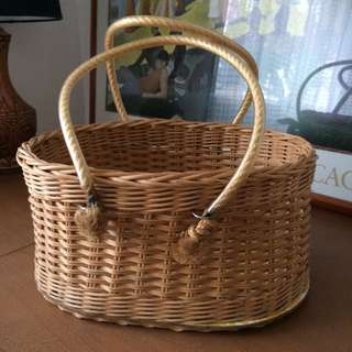 Vintage Wicker Basket With Rope Handles