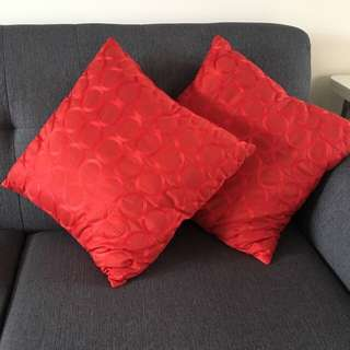 Two Red Decorative Pillows