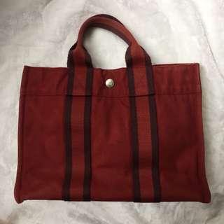 🈹️$500!!Hermes 紅色帆布手挽袋