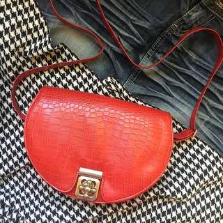 Red Crocodile Skin Patterned Sling Bag