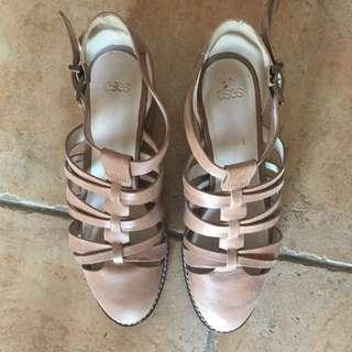 Asos Scholarship Leather Mid Heel Sandals