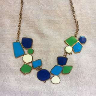 Blue Green White Statement Necklace