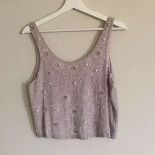 TOPSHOP Beaded Top Size 6