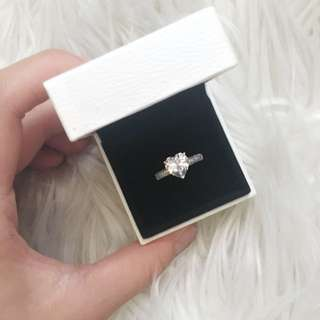 Big Silver Cubic Zirconia Heart Ring
