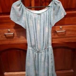 TWILO Baby Blue Drop-waist Dress With Polka Dots