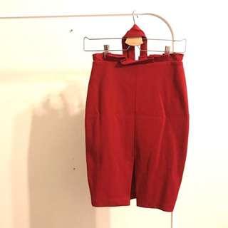 瑪喬莉 荷葉綁帶窄裙 前開衩