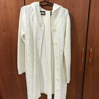 香港製長版米白色針織/毛線 外套、大衣💕 #交換最划算
