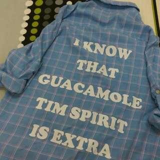 🚚 格子藍色長版襯衫