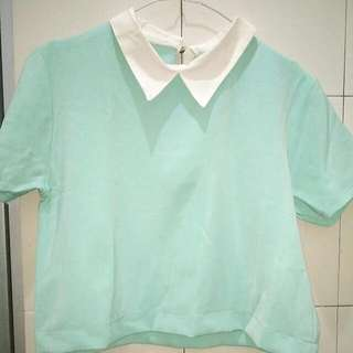 Korean Collar Crop Top