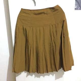 古著 深駝色 棕 咖啡 格紋裙