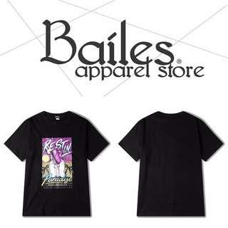 貝里斯Bailes【KS597】歐美版 / 男女款 歐美海灘風格早春熱銷款印花配色設計棉質圓領短袖T恤