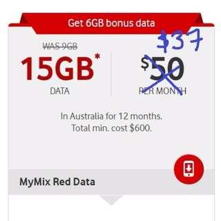 Sim Only Phone Plan - $37 pm - 15GB