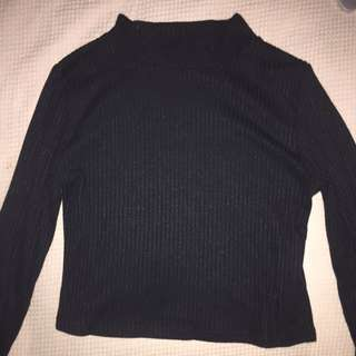 Turtleneck Long sleeve, Black And Textured