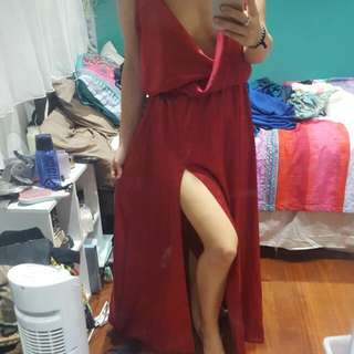 Red Silk Maxi Dress NEGOTIABLE