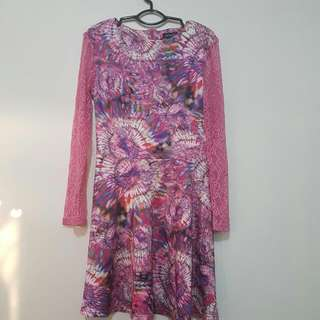 Graphic Print Pink Long-sleeved Dress