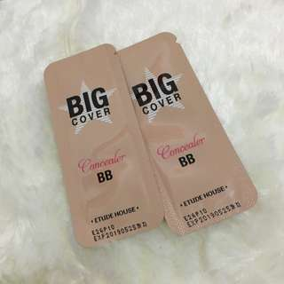 Trial package / sample size Big cover concealer and BB cream by Etude House