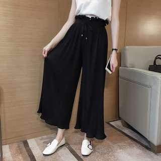 R114  春裝新款韓版時尚顯瘦百褶高腰闊腿褲 九分褲