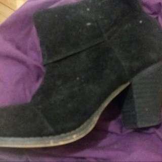 Black Suedette Booties Size 40/AU 9 RRP $80