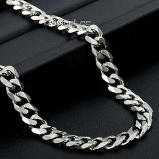 Fashion 7mm Men's Jewelry Curb Cuban Necklace Silver Stainless Steel Chain