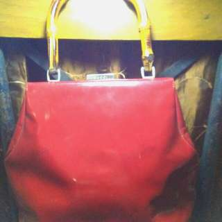 Gucci Red Bamboo Handle Bag