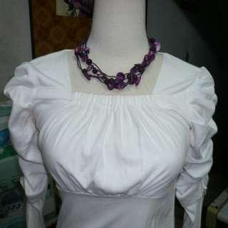 [全新] 紫紅色貝殼珠珠項鍊 短項鍊 手工項鍊