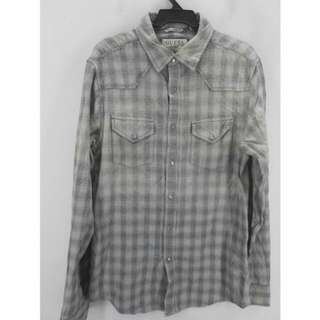 GUESS Denim美式淺灰漸層洗舊感單寧襯衫 XS
