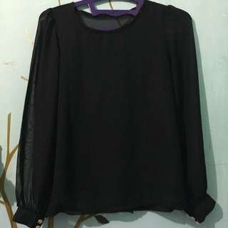 Black Blouse With Gold Button